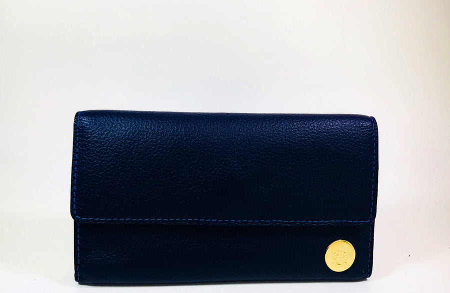 Blue handcrafted leather big wallet