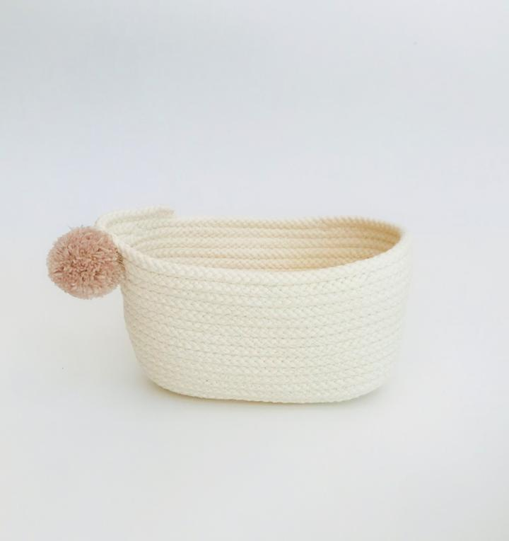 SMALL COTTON OVAL BASKET
