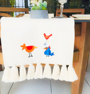 Hand Painted Table Runner - Trio Birds
