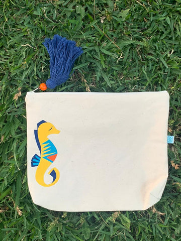 HAND PAINTED SEA HORSE TRAVEL BAG