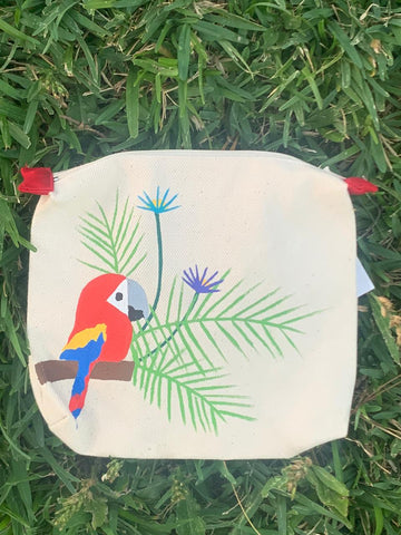 HAND PAINTED PARROT COIN BAG