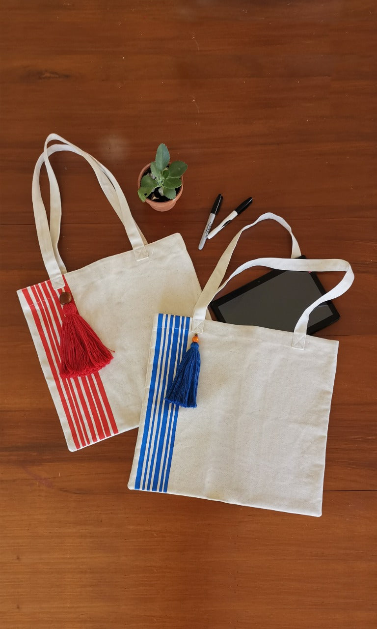 HAND PAINTED RED STRIPE TOTE BAG