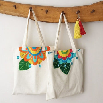 HAND PAINTED FLOWER TOTE BAG