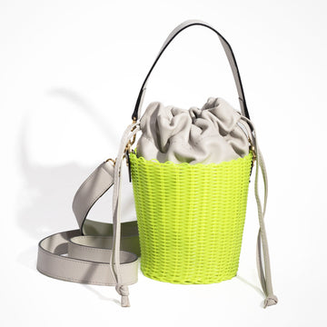 WOVEN LEATHER BUCKET - LIMONE/OSTRA