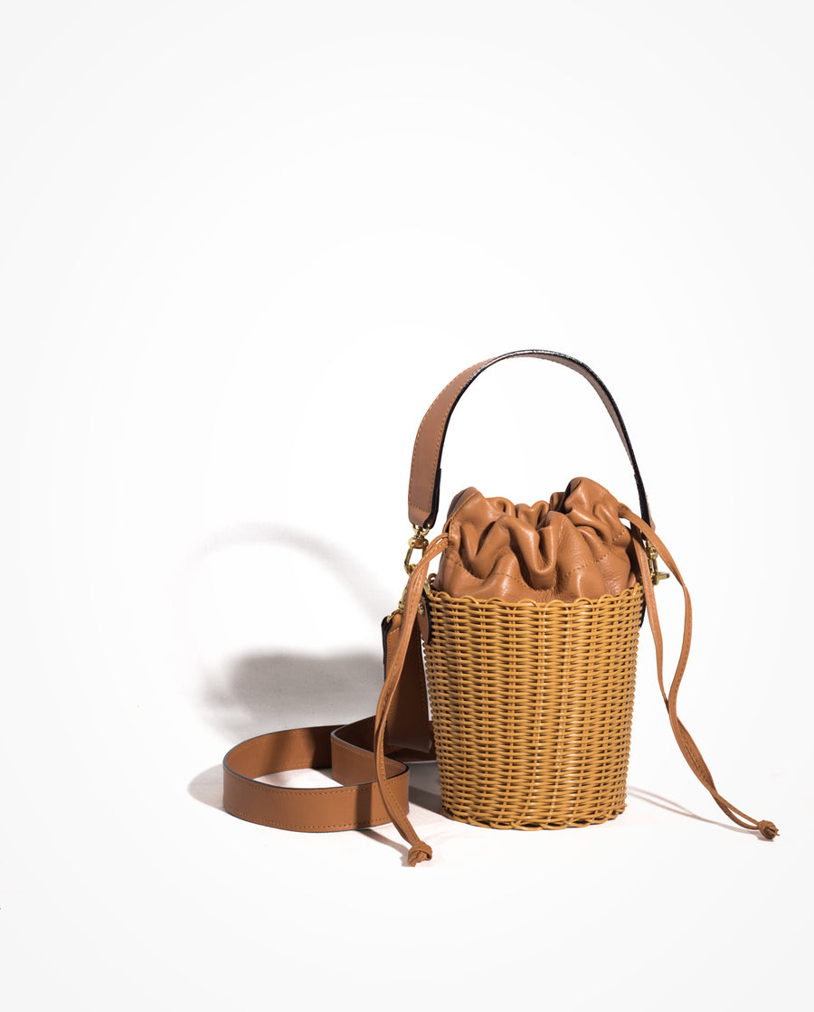 WOVEN LEATHER BUCKET - CESTA/PERSIAN