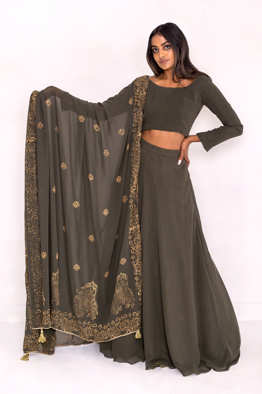 Indian bridal wear. Olive green lehenga set in chiffon with block print chiffon dupatta.  Skirt with POCKETS!