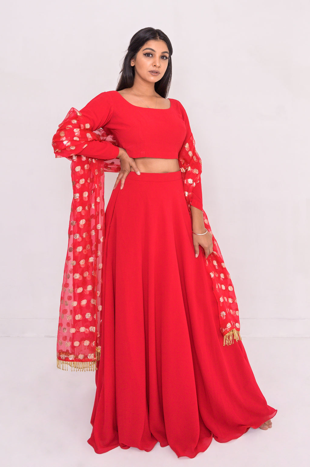 Indian dress. Ruby red flowy chiffon lengha set, with silvery gold and red festive dupatta.   Skirt with POCKETS!