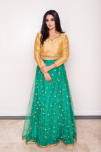 Women's Green net Indian lehenga skirt with mirrored embroidery