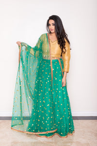 Green and gold Indian lehenga choli and dupatta with mirror embroidery