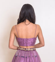 women's trendy purple lehenga choli crop top back