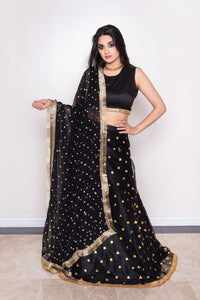 black chiffon dupatta with gold gota