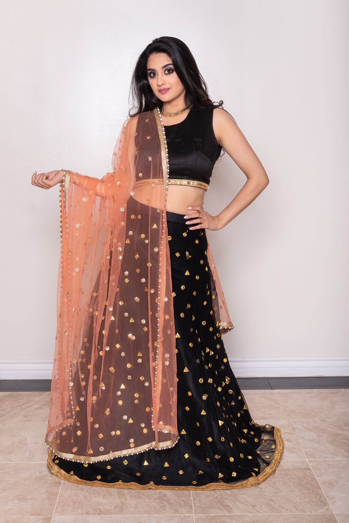 Peach Orange Dupatta