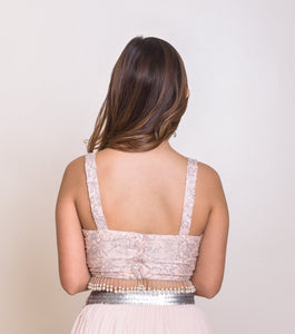 Blush pink lengha blouse back