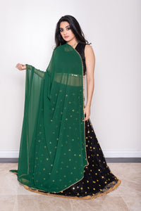 green dupatta with pearls