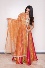 bright orange, green and red lehenga choli dupatta
