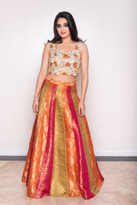 bright orange, green and red lehenga choli skirt