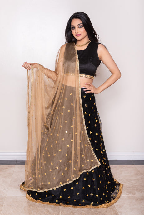 net gold dupatta for lehenga choli