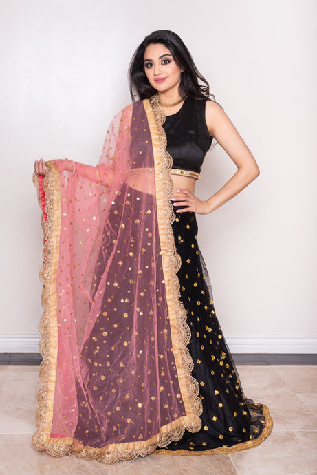 pink and gold dupatta for any lehenga choli