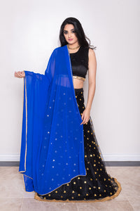 blue dupatta with pearls for lehenga choli