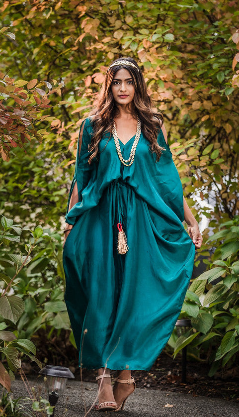 Teal Silk Kaftan
