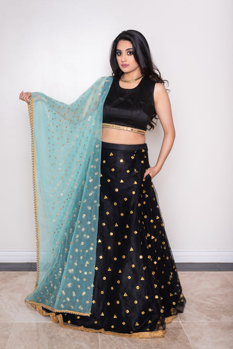 Aqua blue net dupatta for lehenga choli