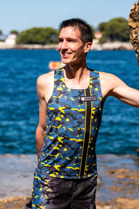 Maillot Running Homme Jaune Bleu [Made in France]