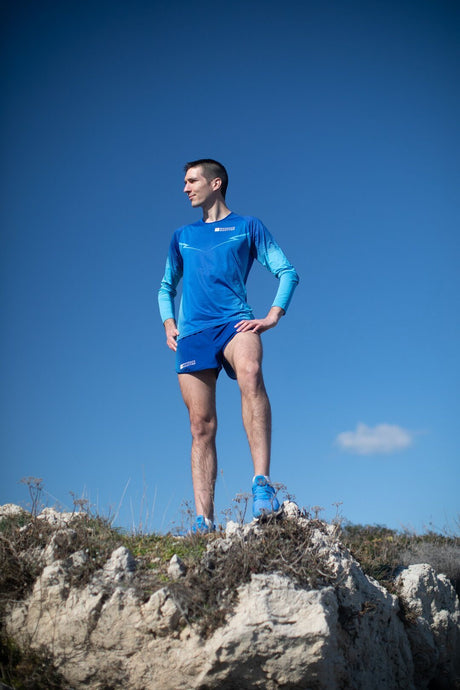 Manche Longue Running Homme Bleu [Made In France]