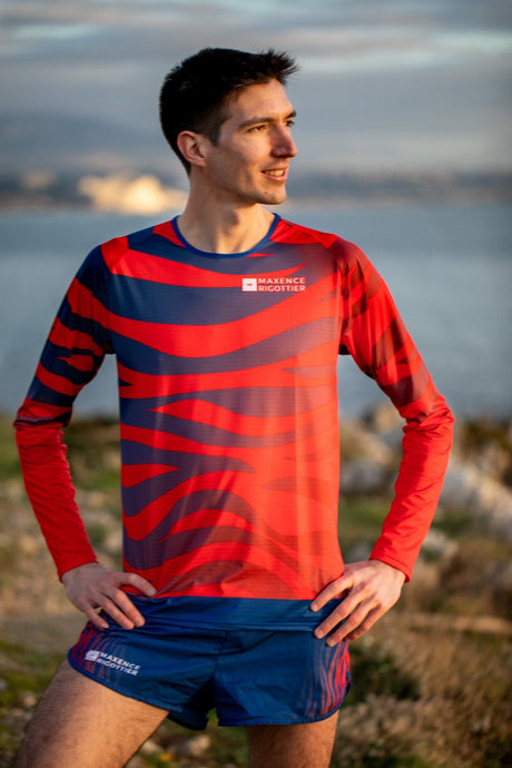 Manche Longue Running Homme Rouge Bleu [Made In France]