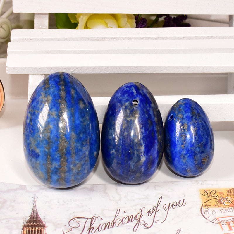 100% Natural Lapis lazuli 3pcs/set Jade Eggs