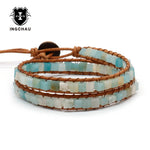 2018 Boho Bracelet Women Natural Stone Leather Multilayer Bracelet Amazonite Handmade Beaded Wrap Bracelet Pulseira WB-14