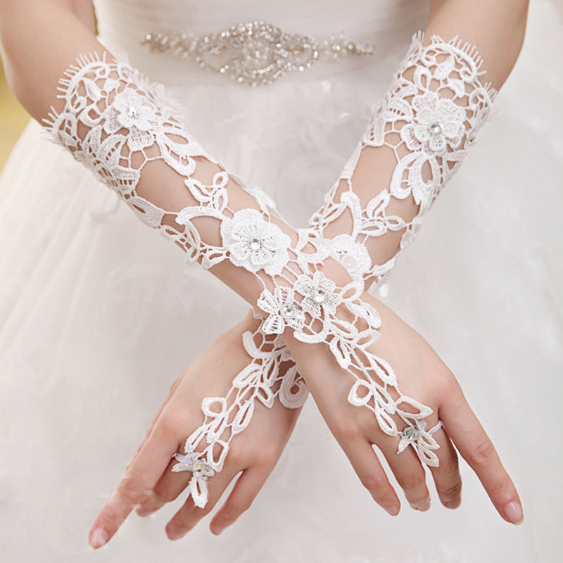 White Lace Floral Printed  Fingerless Long Gloves