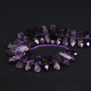 "15.5""strand Natural Amethysts Faceted Slice Double Point Loose Beads,Raw Purple Crystal Stick Nugget Pendants For Jewelry Making"