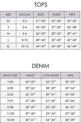 Size Chart Tops and Denim