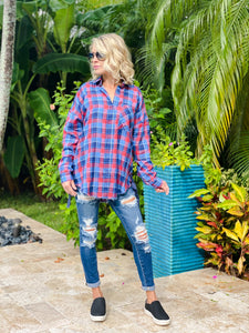 Claire Plaid Button Down Top