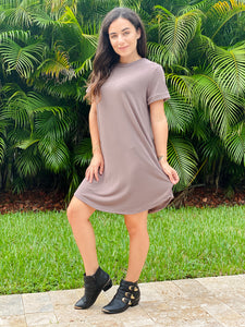 Fab French Terry Pocketed T-Shirt Dress
