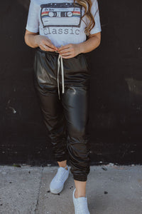 Avery Faux Leather Joggers