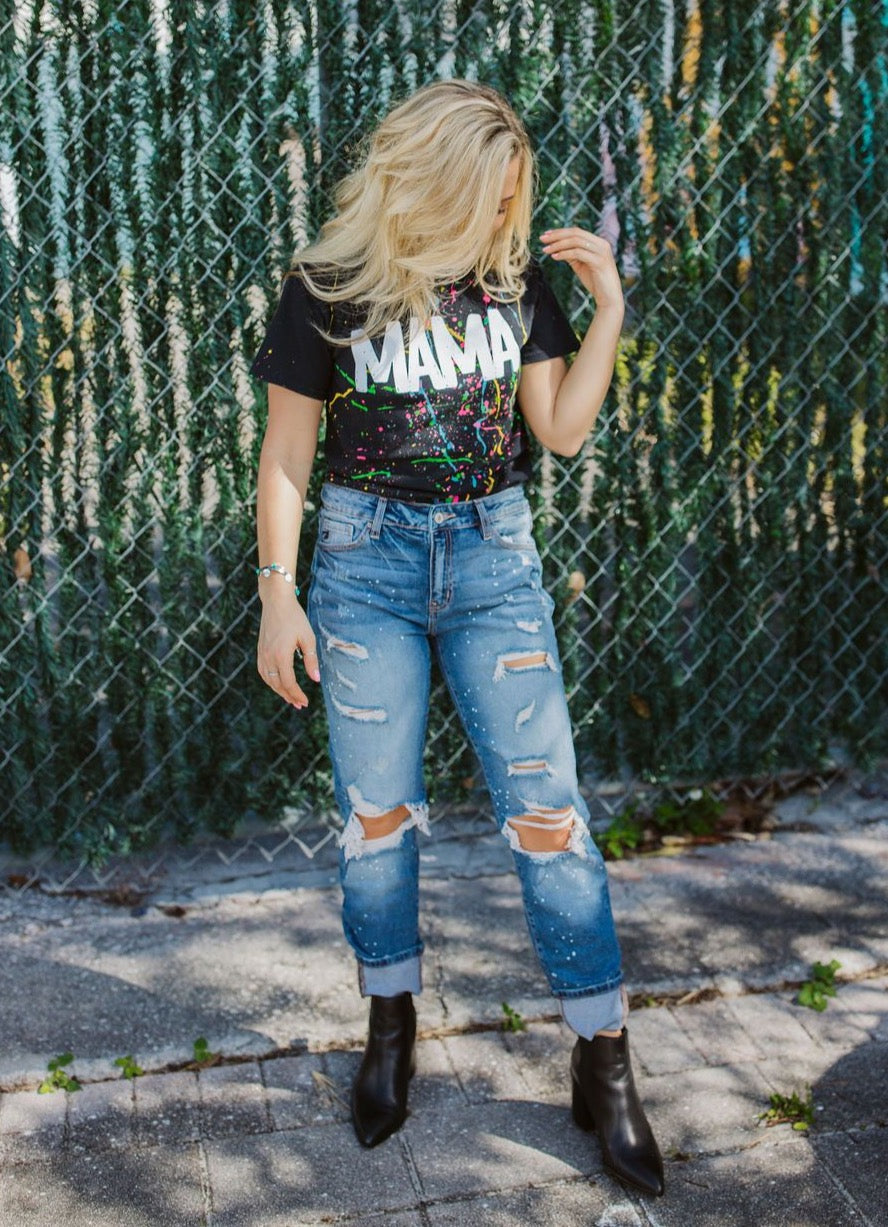 Paint Splatter Distressed Denim - Medium Wash