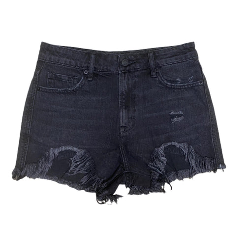 Black Frayed High Rise Mom Shorts