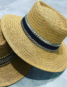 Straw Studded Boater Hat - Silver