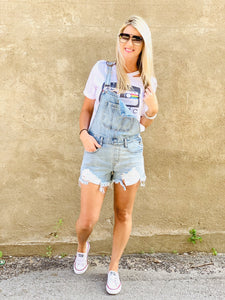 Distressed Overall Shorts - Rebel Threads Boutique
