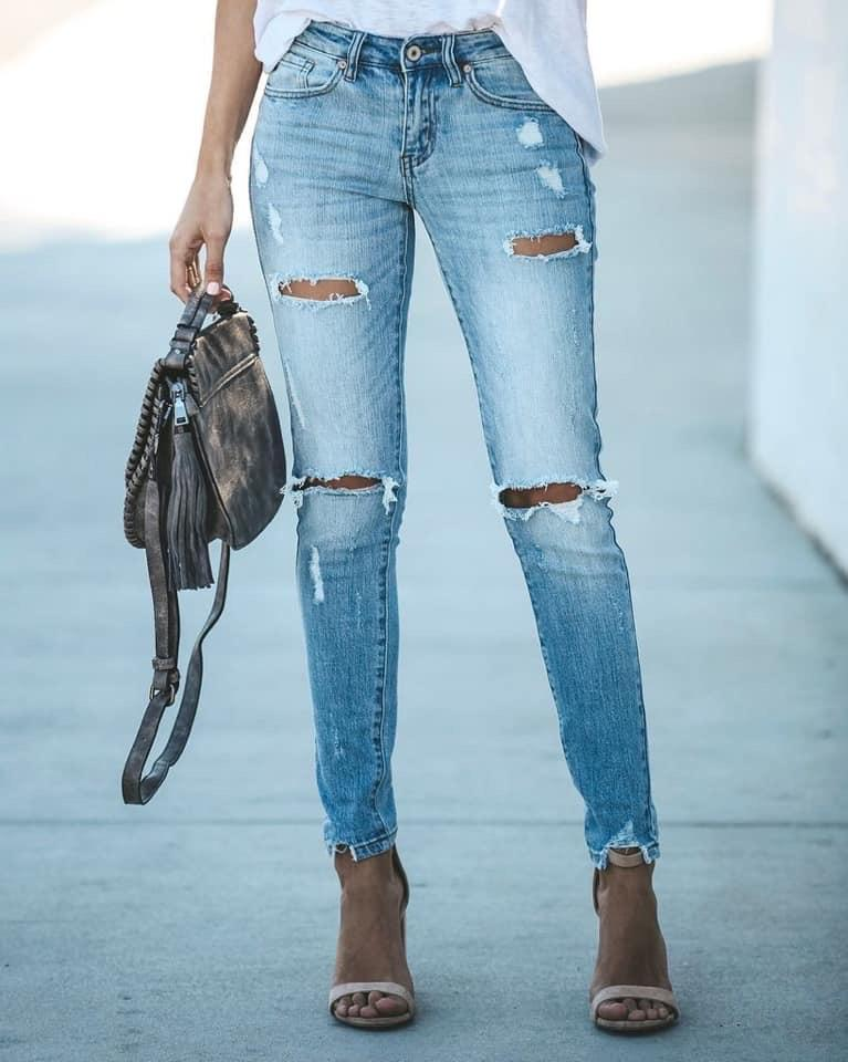 Chloe Distressed Frayed Skinny - Rebel Threads Boutique