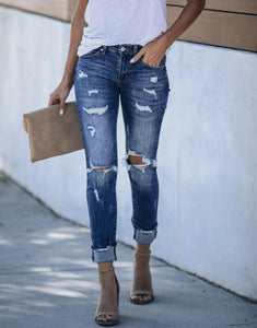 Zoe Distressed Frayed Skinny - Rebel Threads Boutique