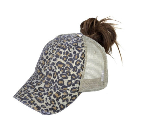 Leopard Ponytail Trucker Hats- 2 Colors - Rebel Threads Boutique