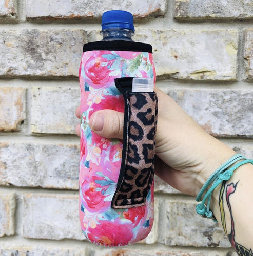 Summer Blooms with Leopard Water Bottle/ Tall Boy Handler - Rebel Threads Boutique