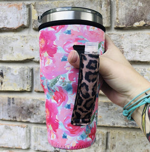 Summer Blooms with Leopard 24-30oz Handler fits Blender Bottle & YETI - Rebel Threads Boutique