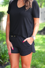 Black Everyday Drawstring Shorts