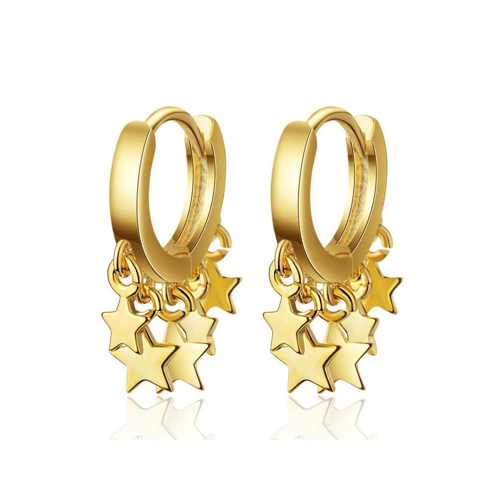 Small Hoop Earrings with Stars - 2 Colors - Rebel Threads Boutique
