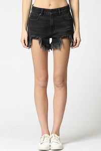 Black Frayed High Rise Mom Shorts - Rebel Threads Boutique