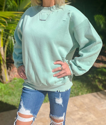 Sage Distressed Sweater