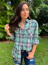 Kendra Plaid Button Down Top